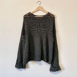 Free People Dark Olive Loose Knit Sweater